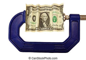dollaro, pizzicato, conto, morsetto