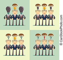 domanda, affari persone, folla, esclamazione, teste, marchio, contrassegni, direzione, aperto, rosso, concetto