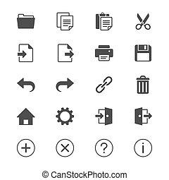 domanda, appartamento, toolbar, icone