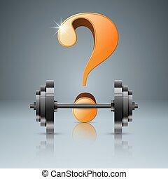 domanda, -, barbell, realistico, icon., 3d