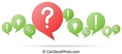 domanda, bolle, rosso, discorso, marchio
