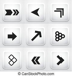 domanda, buttons:, set, frecce, quadrato