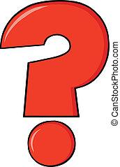 domanda, cartone animato, rosso, marchio