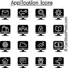 domanda, computer, set, icona