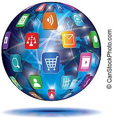 domanda, concept., globe., icons., internet