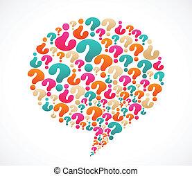domanda, discorso, marchio, bolla, icone