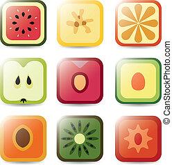 domanda, frutta, icone