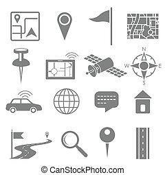 domanda, gps, set, navigazione, icona