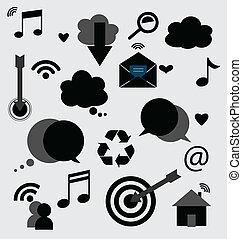 domanda, icone, vettore, illustration., design.