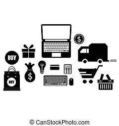 domanda, icone, vettore, illustrazione, design.