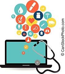 domanda, laptop, set, icona, sanità