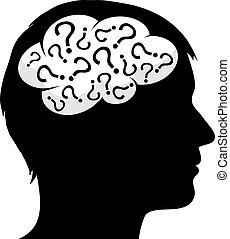 domanda, maschio, silhouette, contrassegni