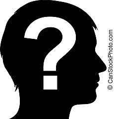 domanda, maschio, silhouette, marchio