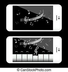 domanda, mobile, note, telefono, musica, tastiera, pianoforte