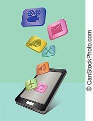 domanda, mobile, volare, telefono, icone, fuori