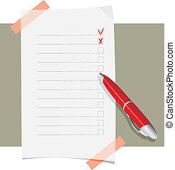 domanda, penna, palla, rosso, forma