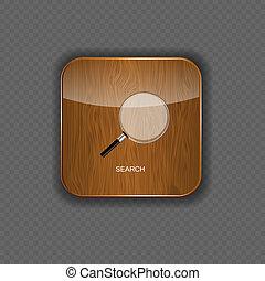 domanda, ricerca, legno, icone
