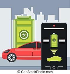 domanda, smartphone, elettrico, batteria, livello, automobile, controllo