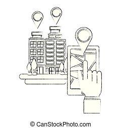domanda, smartphone, gps