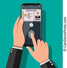 domanda, smartphone, scheda id, mano