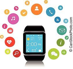 domanda, smartwatch, icone