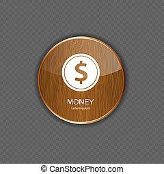 domanda, soldi, legno, icone