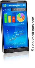 domanda, web, schermo, smartphone, analytics