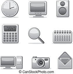 domande, computer, set, icona