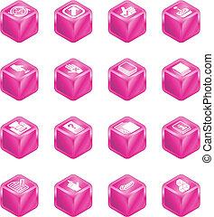 domande, cubo, serie, set, icona