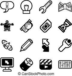 domande, relativo, set, icona computer