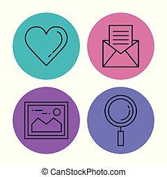 domande, smartphone, menu, icone