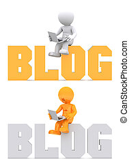 dominio, seduta, segno., carattere, blog, 3d