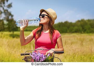 donna, acqua, bicicletta, attivo, bere, freddo