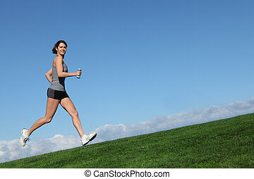donna, adattare, sano, correndo, jogging, o, fuori