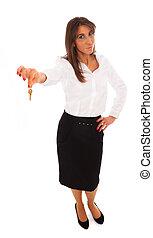 donna affari, presa a terra, chiave
