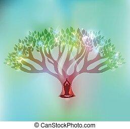 donna, albero grande, sfavillante, mette foglie, fronte