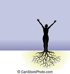 donna, albero, radici