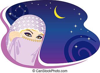 donna, arabo, night., musulmano
