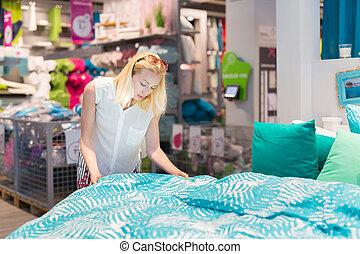 donna, arredamento, lei, moderno, articolo, appartamento, destra, scegliere, casa, store.