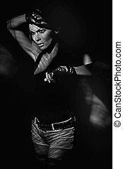 donna, arte, atletico, foto, giovane, rivoltelle, presa a terra, multa