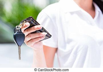 donna, automobile, esposizione, asiatico, chiave, nuovo