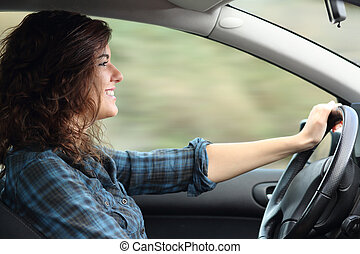 donna, automobile, felice, profilo, guida