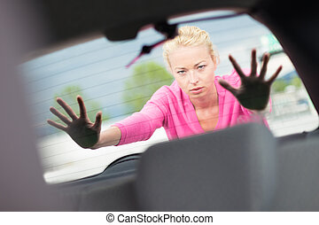 donna, automobile., spinta