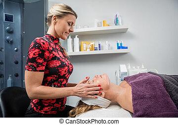 donna, bellezza, dare, salone, facciale, estetista, massaggio