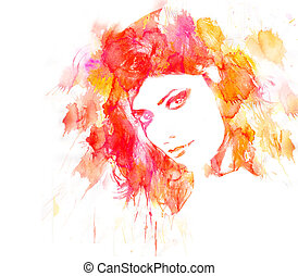 donna, bellezza, portrait.