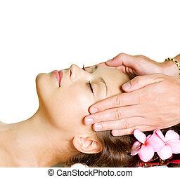 donna, bellezza, prendere, massage., day-spa, facciale, terme