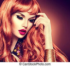 donna, bellezza, riccio, sano, capelli lunghi, portrait., rosso