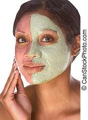donna, bellezza, sperimentale, trattamento, facciale, terme