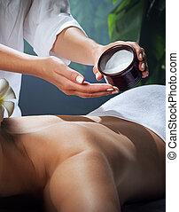 donna, bello, environment., giovane, olio massaggio, terme, frammento