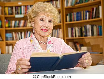 donna, biblioteca, anziano
